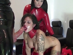 A duo Bitches In Red Latex Play With Each separate Other and Have an intercourse Guy