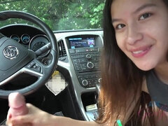 Brunette cutie with sexy smile gives POV blowjob and handjob in car