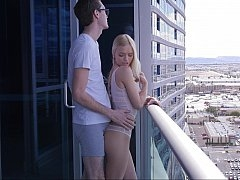 Luring a blonde on a balcony