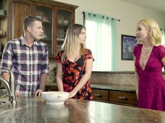 MILF Aaliyah Love joins her daughter & her lover for a kitchen threesome
