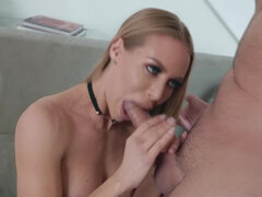Housewife Nicole Aniston suck & fucks the delivery man for anniversary