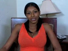 Ebony babe masturbates before blowing a white cock