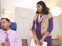 Hot teen girls blow mature men in the office