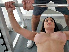 Sexually available mom gym workout on the big dick of her personal trainer