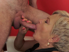 A huge granny is feeling a young cock in her pussy and moreover a tongue on her nipples