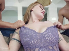 Aria Kai gets her pussy used by two dicks