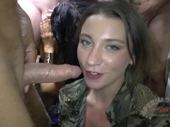 Orgy gangbang with cumshots in the toilet room for slutty brunette Julie Skyhigh