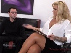 Submissive Guy Worships Thick Blonde