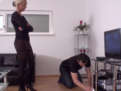 Femdom Ladies educate slaves to housemaids