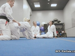 Foursome with horny teens during martial arts training