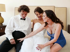 A pair of females are sharing a guy in a hot and kinky three-way