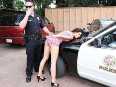 Blue-eyed sex goddess Lana Rhoades is sucking by the car