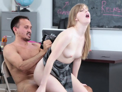 A schoolgirl gets her skirt lifted up and likewise she is likewise fucked well