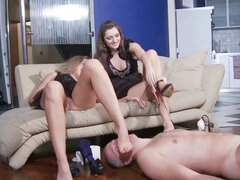 Smoking femdom spanking & spitting an ashtray foot slave