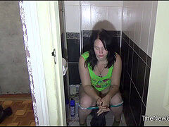 Russian damsel home toilet farts
