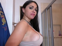 Awesome Spanish whore with big knockers gives blowjob on camera