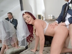 Chesty redhead cheats on groom with her potential stepdad