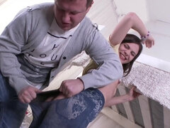 Erika Korti in ripped jeans gets lad's dick in her mouth & tight muff