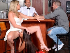 Dirty sex in the small bar with two busty models Aubrey Rose and Cory Chase