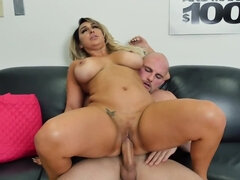 Serbian tattooed MILF gets interviewed by big cock bald guy