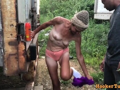 Granny Crackhead sucks and fucks for money