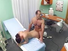 Actually euro nurse covered with cum in trio with doc