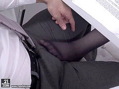 Darcia Lee and Mia Evans rides their boss' massive manmeat