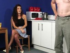 CFNM housewife instructs lad to jerkoff