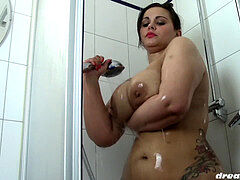 plus-size Samantha in thick kinks shower fun