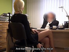 Loan4k. blonde sweetheart with ponytail is wielded by loan manager for currency