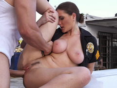 Burglar and also hot cop Molly Jane fucking on the hood of her car