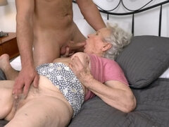 Dream of sex comes true with young dick in granny's vagina