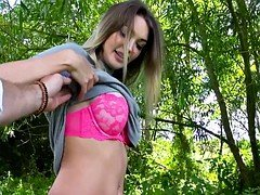 Large titties Czech chick railed in the woods