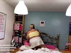Fat adelesexyuk cleaning her bedroom on camera