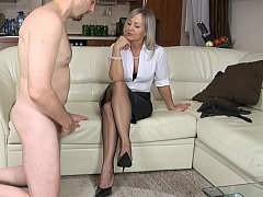 Female domination handjob from a GILF