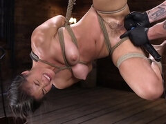 Hogtied Asian cutie gets the real intense BDSM experience