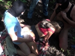 Wife group-fucked by many strangers at a wooded dogging spot