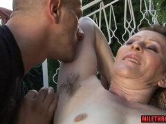 Hairy GILF Has Fun With Hung Dude