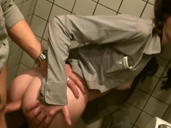 Fucking in a public bathroom with a super cute whore