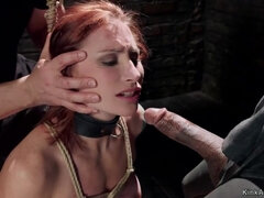 Pain lessons for tied redhead trainee