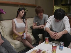 Meguri - Asian babe with big natural tits and hairy snatch in group sex orgy with cumshots