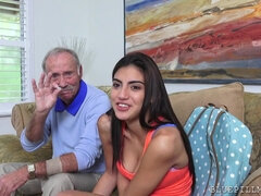 Old man tastes sweet pussy of fresh Michelle Martinez