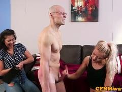 CFNM femdoms tugging and additionally paddling sub in trio
