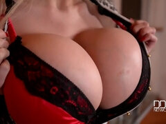 Huge fake tits in solo masturbation video with dildo toy