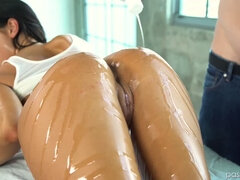 August Ames oiled up in swimsuit and fucked