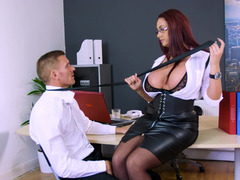 Sexy boss in black leather makes an employee make love her