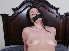 A female that loves bondage is tied up and moreover fucked on the bed