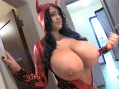 Red Devil - monstrous massive hooters exposed