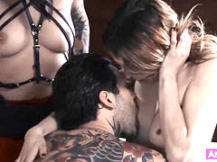 goth fellow and female seduce a stunning babe to fuck with them