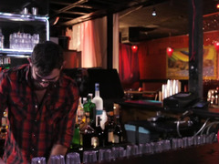 Ebony gets drilled at the bar counter while her stepdad is drinking